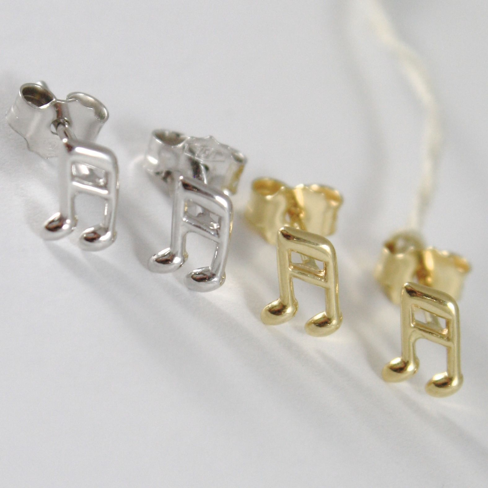 YELLOW GOLD EARRINGS 0,5 WHITE 750 18K, MUSICAL NOTE, LENGTH 0.7 CM