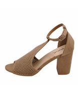 Qupid Edeena 02 Taupe Women's Peep Toe Perforated Sandal Heels - $34.95