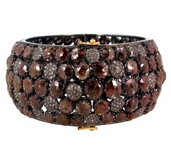 New Pave Natural 60.30ct DIAMOND Bangle 18k Gold 925 Silver Look Antique... - $4,914.36