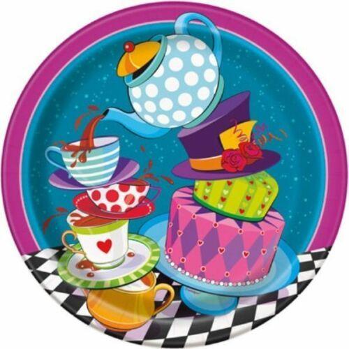 "Mad Hatter Tea Party 8 Ct 9"" Dinner Lunch Plates Alice Wonderland"