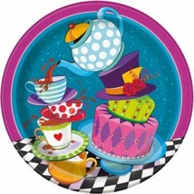 "Mad Hatter Tea Party 8 Ct 9"" Dinner Lunch Plates Alice Wonderland - $3.19"