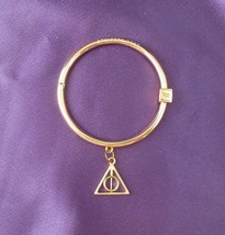 Ashley Bridget Artist Designed Gold Tone Bangle Bracelet W/ Charm - $35.64
