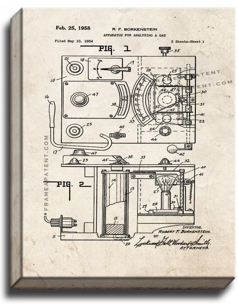 Primary image for Police Law Enforcement Breathalyzer Patent Print Old Look on Canvas