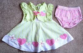 Girl's Size 12 M 9-12 Months Two Piece Green/ White/ Pink Youngland Dres... - $15.50