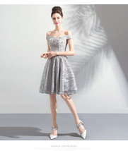 Shiy Gray Sequin Short Bridesmaid Dress Sweet Women Mini Homecoming Dresses - $93.44