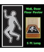 Crime Scene Gag DEAD BODY SILHOUETTE Floor Wall Door Cover Halloween Dec... - $7.57