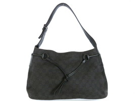 Authentic GUCCI Original GG Black Canvas Leather Shoulder Bag Purse - $120.94