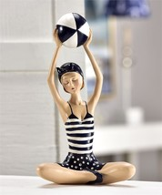 "9.65"" high Sitting Vintage Beach Girl Design Figurine Nautical Beach Ball NEW"