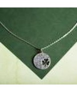 """GNI Silver LUCK OF THE IRISH 4-leaf clover cutout on 18"""" link chain w/gi... - $3.95"""