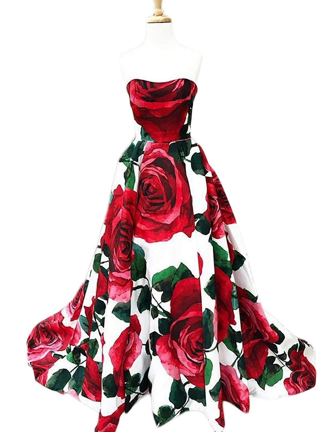 Primary image for Womens Floral Print Prom Dresses Strapless Long Evening Party Gowns Formal Dress