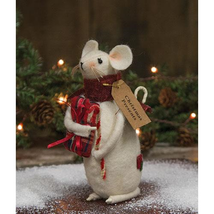 farmhouse primitive country rustic Christmas Presents Mouse w candy cane... - $34.99