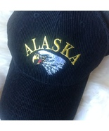 Alaska Bald Eagle Embroidered Black Cotton Corduroy Baseball Cap - $16.00