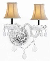 Murano Venetian Style Crystal Wall Sconce Lighting with White Shades W/Chrome Sl - $72.50