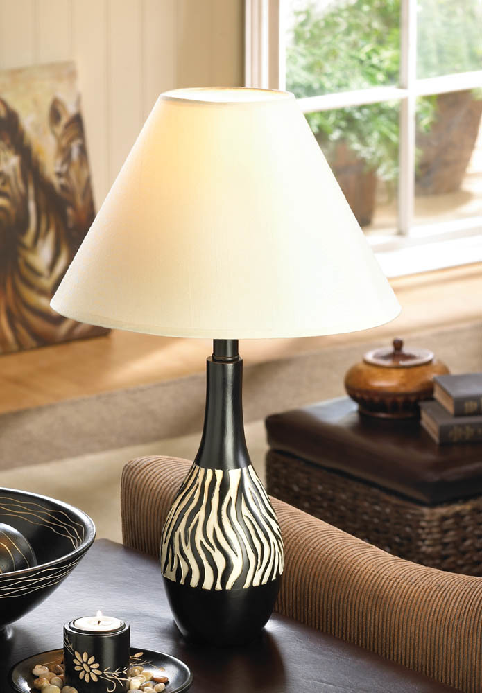 Lamps Table, Black Rustic Desk Lamp Contemporary Bedside Table Zebra Stripe Lamp