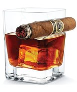 Best Whiskey Glass Tumbler with Cigar Holder 320ml Old Fashioned Glass f... - $22.99+