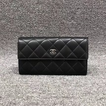 AUTH CHANEL BLACK QUILTED LAMBSKIN LARGE FLAP TRI-FOLD CLUTCH WALLET