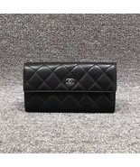 AUTH CHANEL BLACK QUILTED LAMBSKIN LARGE FLAP TRI-FOLD CLUTCH WALLET  - $999.99