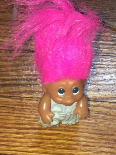 "Vintage Thomas Dam Troll 1965 3 1/2""  W/ Pink Hair & Light Blue Dress"