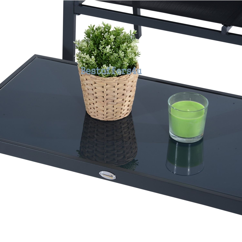 Luxury Garden Set 4pcs Contemporary Black Textilene Mesh Sofa Table 2 Chairs New image 4