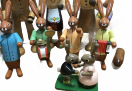 Large Vintage Lot Erzgebirge Kuhnert Wood Rabbit Bunny Easter Made in Germany image 6