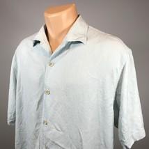 Tommy Bahama XL Hawaiian Shirt Mens 100% Silk Blue Short Sleeve Button Front - $22.43