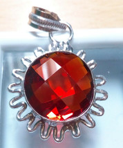 Sterling Silver Red AAA Zircon Pendant Necklace. - $12.23