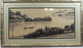 Vintage Chinese Ink Wash Serene River Scene Painting - framed and signed - $189.75