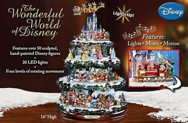 Disney 50 Character Tabletop Christmas Tree Carousel Musical Light Motio... - $293.51