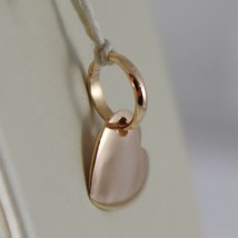 18K ROSE GOLD MINI PINK HEART CHARM PENDANT, FLAT SMOOTH SHINY MADE IN ITALY image 2