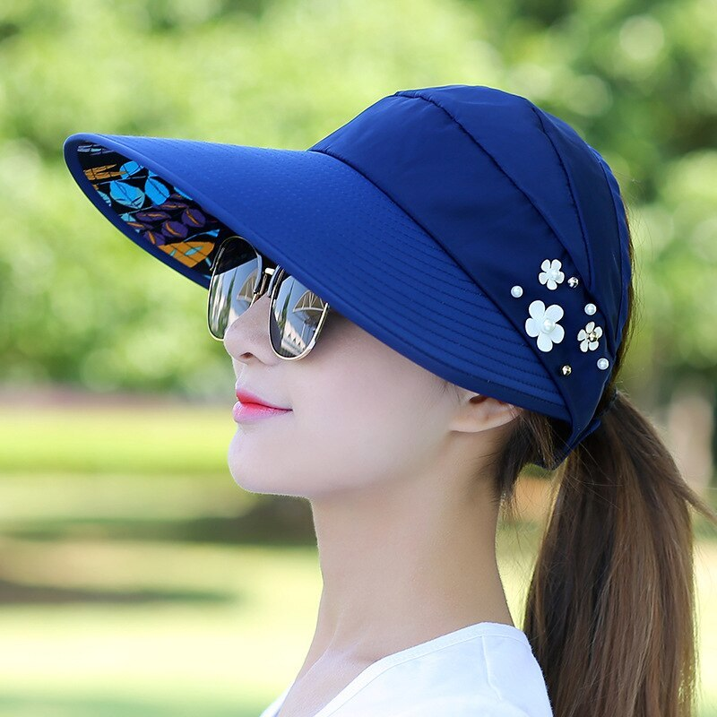 Floral Sun Hats for Women Summer Wide Large Brim Floppy Beach Folding Sun Protec image 3