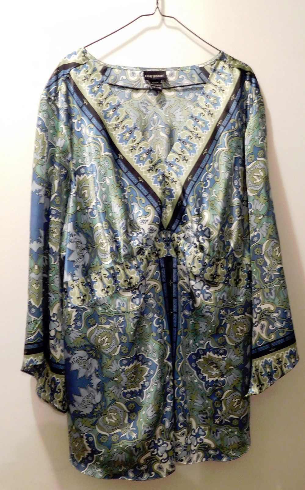 Primary image for Lane Bryant Blue & Green Floral Paisley 3/4 Length Sleeve Blouse -  Size 22/24