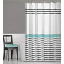 MAYTEX Simple Striped Fabric Shower Curtain, 70 inches x 72 inches, Multi Grey - $35.13
