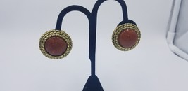 Vintage Bronze Look With Faux Red Stone Round Textured Clip On Earrings ... - $9.62