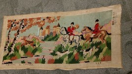 Large Vtg Needlepoint CHASSE A COURRE Partially Completed 40 x 18 FS The... - £37.31 GBP