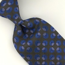 TOMMY HILFIGER BLUE GRAY GEOMETRIC CIRCLE Woven Silk Neck Tie I2-553 Exc... - $15.83