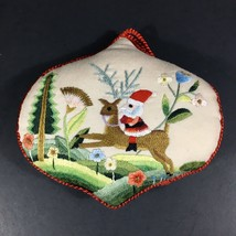 Vintage 1984 HALLMARK Hand-Sewn Cloth Embroidered Ornament Santa Keepsak... - $12.16