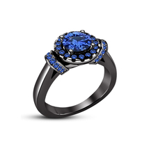 925 Sterling Silver 14k Black Gold Plated Round Cut Blue Sapphire Wedding Ring - $79.40