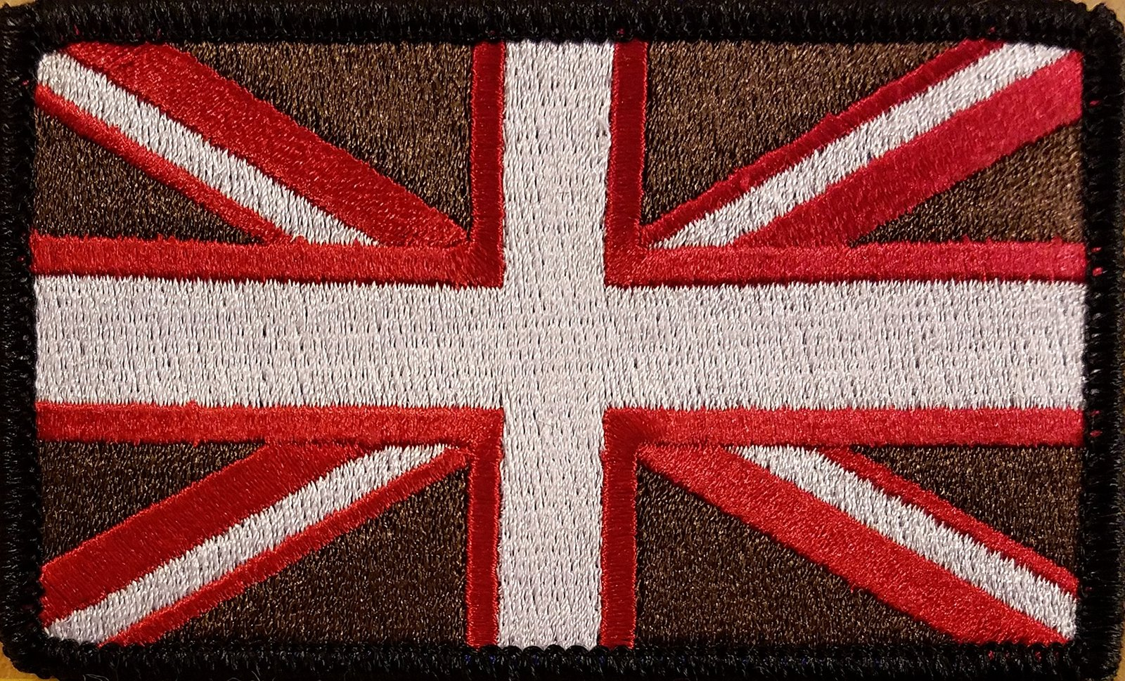 CANADA Flag Iron-On Morale Patch Brown /& White Version White Border #11