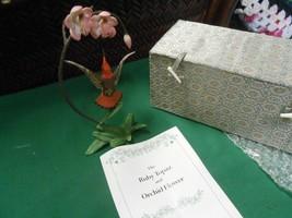 Beautiful FRANKLIN MINT Ruby Topaz & Orchid Flower by Alan Singer in Gre... - $39.19
