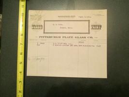 Pittsburgh Plate Glass Company 1914 Invoice Letterhead 1228 - $10.99