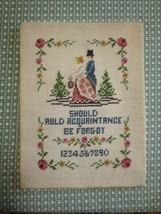 "SHOULD AULD ACQUAINTANCE BE FORGOT Needlepoint SAMPLER - 10 1/2"" x 14""  - £11.45 GBP"