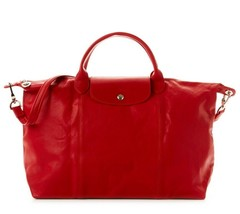 NEW LONGCHAMP Le Pliage Cuir Large Tote Leather Satchel Bag Cherry Red A... - $459.90