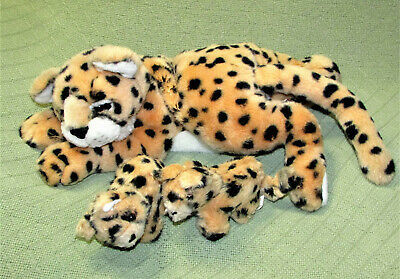 "VINTAGE UNIPAK 15"" LEOPARD PLUSH WITH CUBS BABIES STUFFED ANIMAL MOTHER 1990 TOY - $44.55"