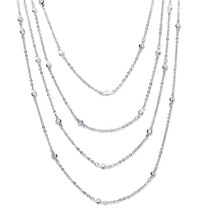 "2.94 TCW Cubic Zirconia Silvertone Waterfall Necklace 100"" - $20.12"