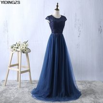 Elegant Navy Blue Prom Dress Long Lace Tulle A-line Evening Party Dress - $74.99