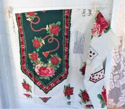 Fabric Panel A Christmas Gathering Runner Xmas Appliques Wamsutta Hallmark - $18.00
