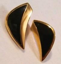 Vintage Monet Black Enamel Gold Tone Earrings - $9.90