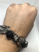 Vintage Crystal Mosaic Link Pewter Stretch Bracelet - $36.03