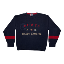 Vintage Mens Chaps Ralph Lauren Fly Fishing Embroidered Cotton Sweater S... - $98.99