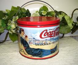 Coca Cola Tin Box with Handle and Vintage Scenes - $18.50